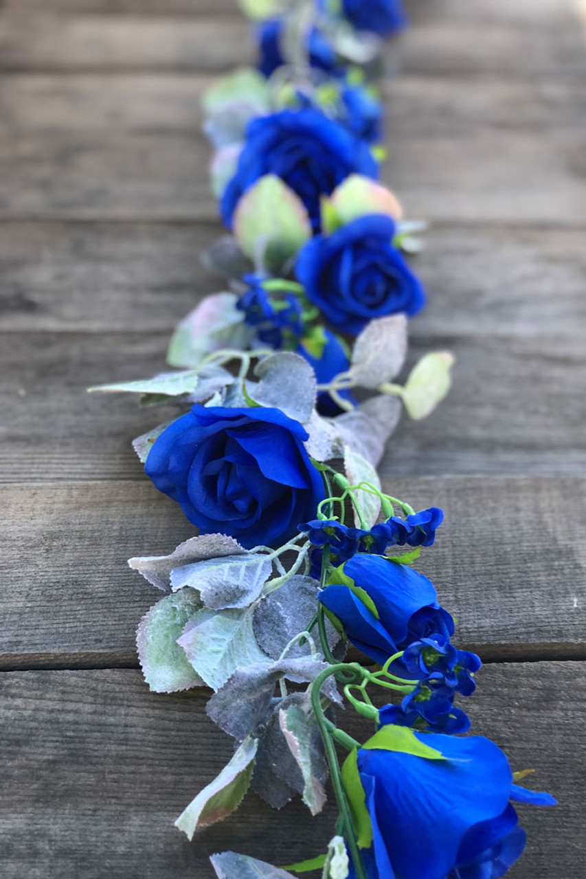 Royal Blue Rose Flower Hair Comb Bridesmaid Fascinator Wedding Floral Vtg 4933