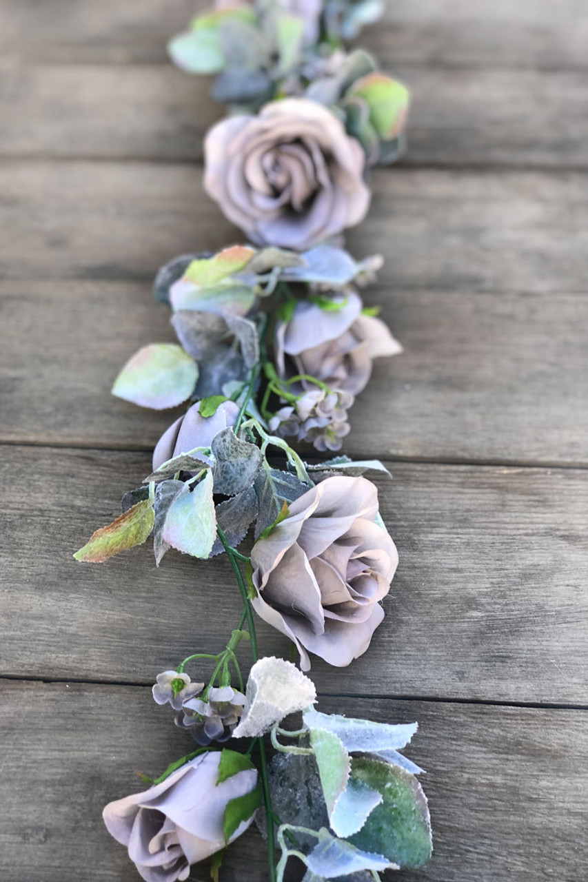 8 Ft Silver Grey Rose Garland Wedding Flower Garland For Marriage Thebridesbouquet Com