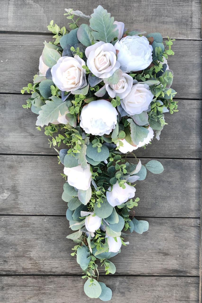 Ivory Blush Eucalyptus Cascading Bridal Bouquet Cascade Wedding Bouquet Thebridesbouquet Com