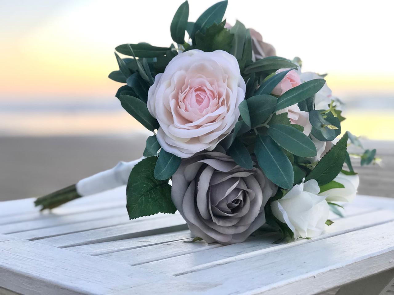 Wedding Bouquet Blush Pink And Silver Grey Bridal Bouquet Mixed With Eucalyptus Medium Thebridesbouquet Com