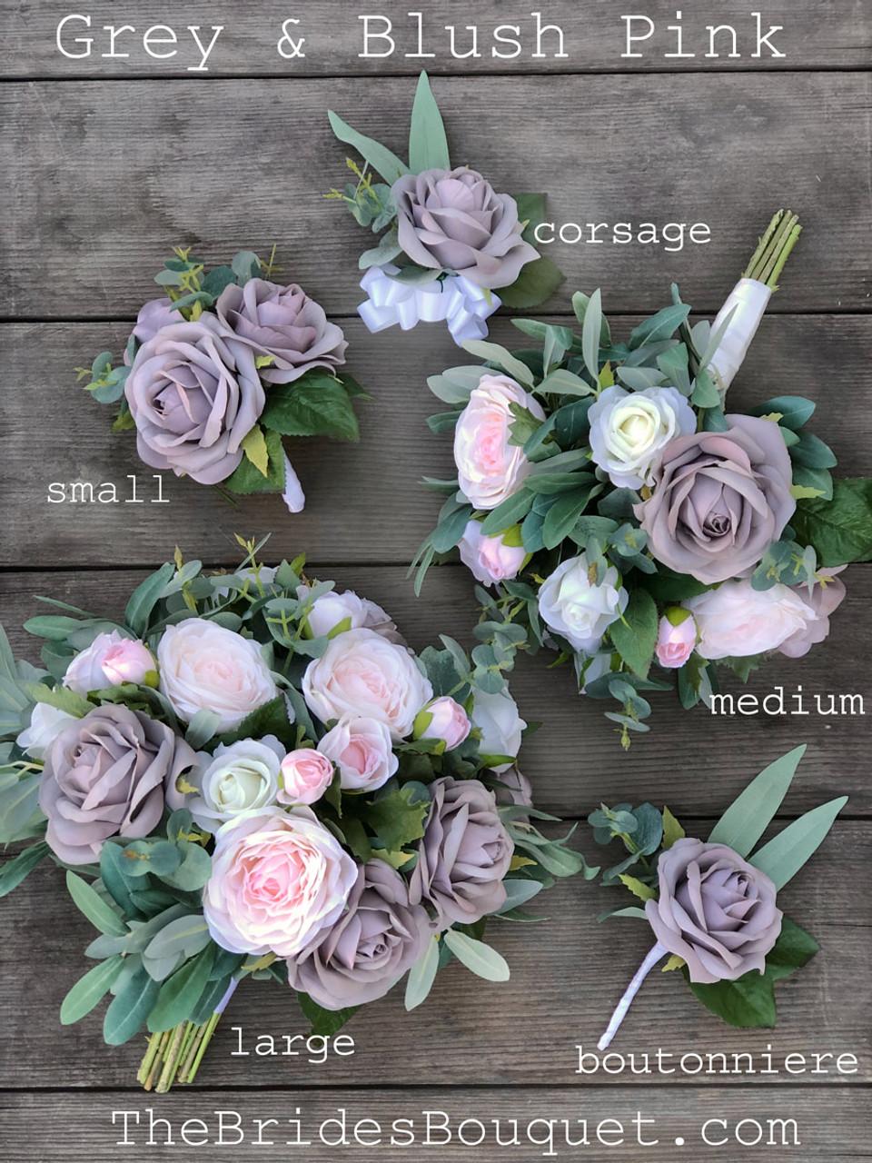 Wedding Bouquet Blush Pink Silver Grey Bridal Bouquet Mixed With Eucalyptus Large Thebridesbouquet Com