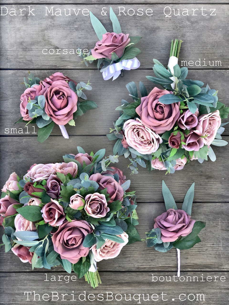 Dark Mauve Rose Silk Bridal Bouquets With Eucalyptus Greenery Small Rose Eucalyptus Thebridesbouquet Com