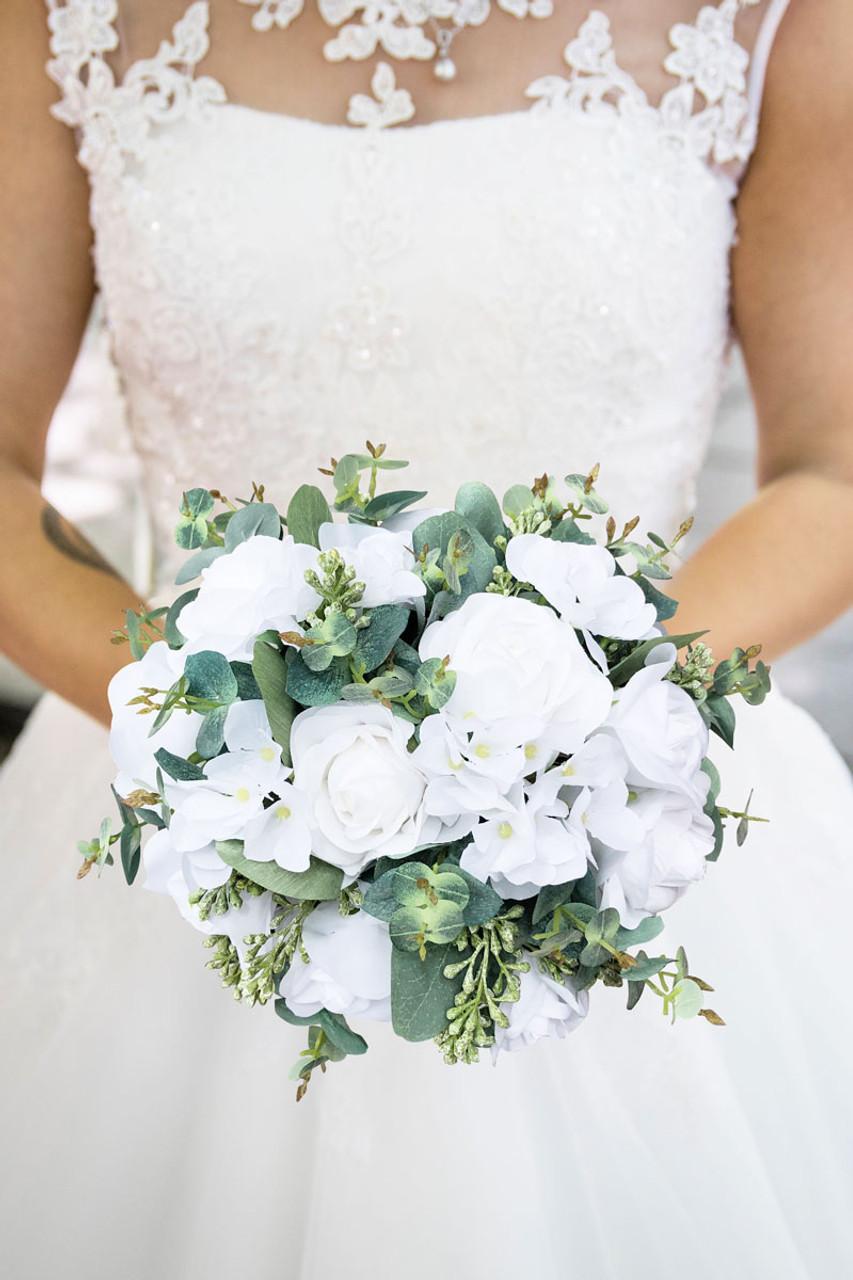 Wedding Flower Bouquet Bridal Bouquet Wedding Flowers Bridesmaid Bouquet,White Flowers Eucalyptus Cascade bridal bouquet White Bouquet