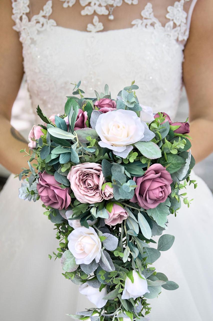 Cascading Bridal Bouquet In Dark Mauve Rose Quartz With Eucalyptus Greenery Cascade Thebridesbouquet Com