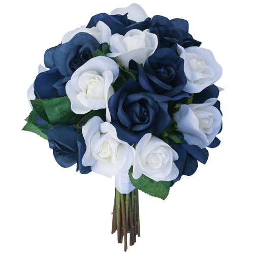 Navy Blue And Ivory Silk Rose Hand Tied Bridal Bouquet