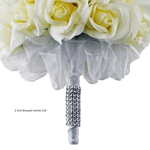 Cascade Bouquet Silk Wedding Flower: Purple And Ivory Silk Rose Cascade