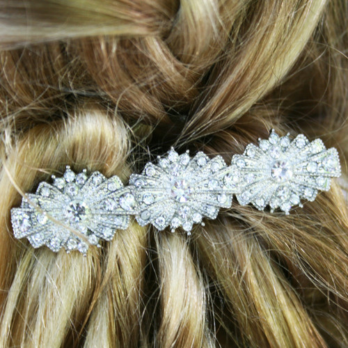 Wedding Vintage Style Hair Accessories: ART DECO Hair Clip Rhinestone Vintage Bridal Wedding