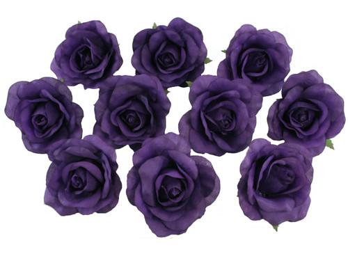 10 Purple Rose Heads Silk Flower Weddingreception Table Decorations