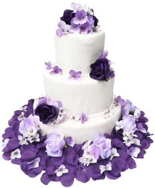 Silk Flower Wedding Cake Toppers: Purple Lavender Rose & Hydrangea Rose Flower Cake Toppers