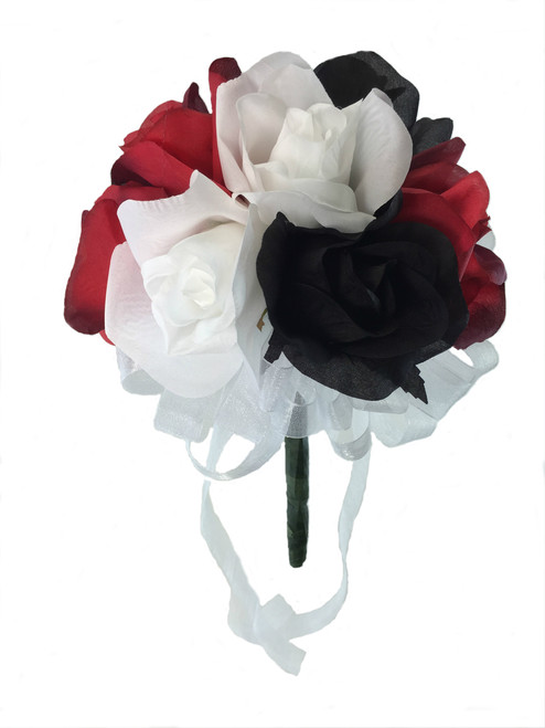 12 Roses Red White Black Silk Flower Bridal Bouquet Wedding