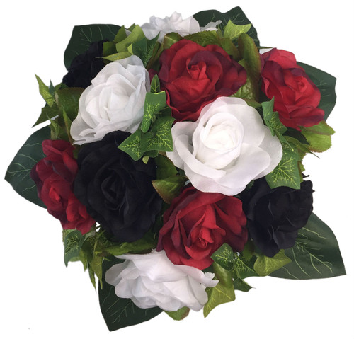 Red White And Black Silk Rose Round Artificial Silk Bridal