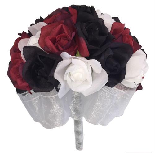 24 Roses Red Black White Silk Flower Bridal Bouquet Wedding