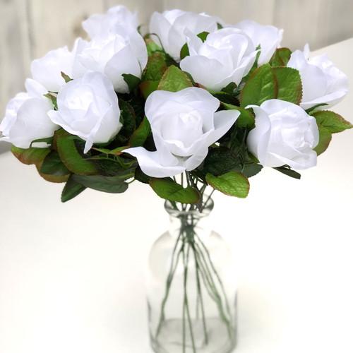 White Roses One Dozen Fake Flower Stems For Wedding Romance I Love