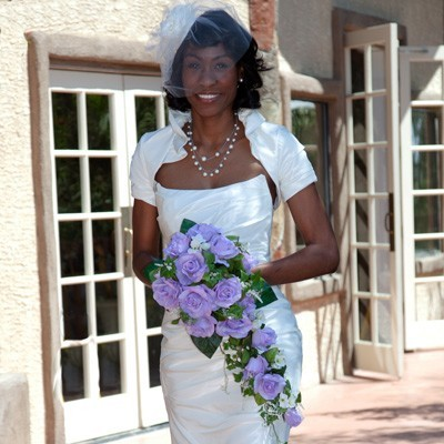 Lavender Silk Rose Cascade - Bridal Wedding Bouquet