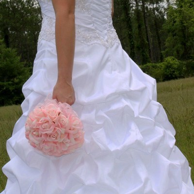 Pink Silk Rose Hand Tie (2 Dozen Roses) - Bridal Wedding Bouquet