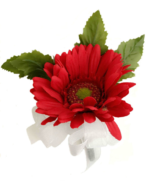 Wedding Flowers Corsage Ideas: Red Daisy Wedding Corsages