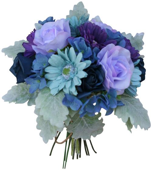 Artificial Wedding Bouquets Field Flowers In Aqua Purple