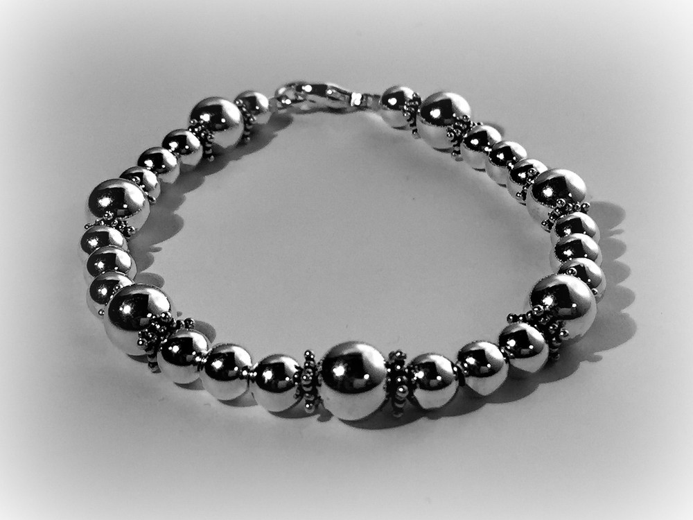 Fancy Sterling Silver Bracelet With Rondels