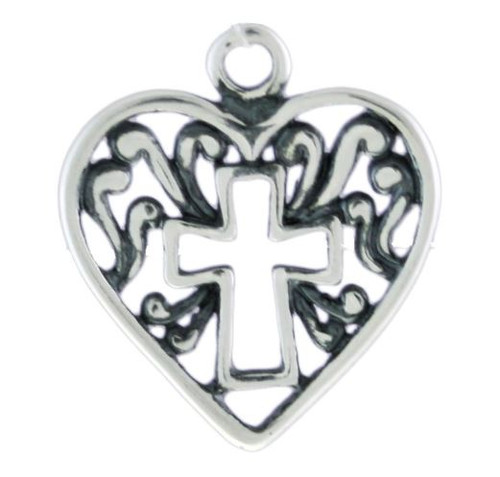 "Heart With Cross Cutout"" Charm"