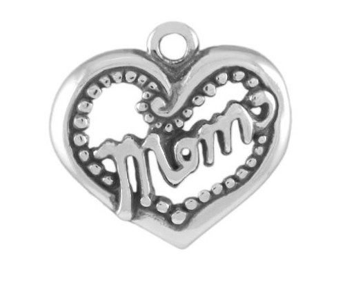 """Mom Heart With Dot Border"" Charm"