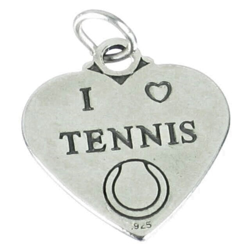 """I Love Tennis"" Heart Charm"