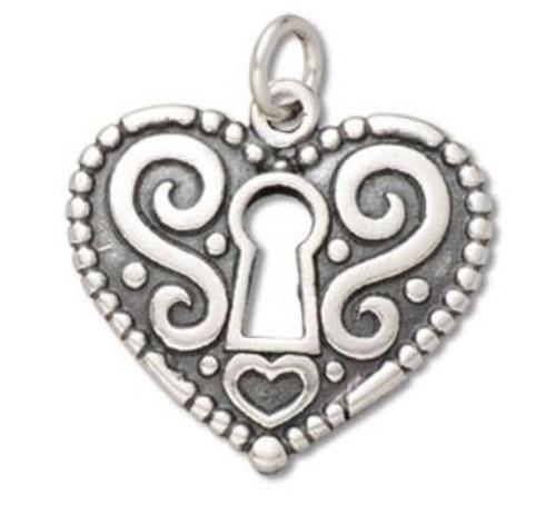 """Heart  """"Keyhole"""" Lg. Charm"""