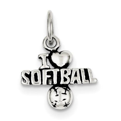 I Love Softball Charm