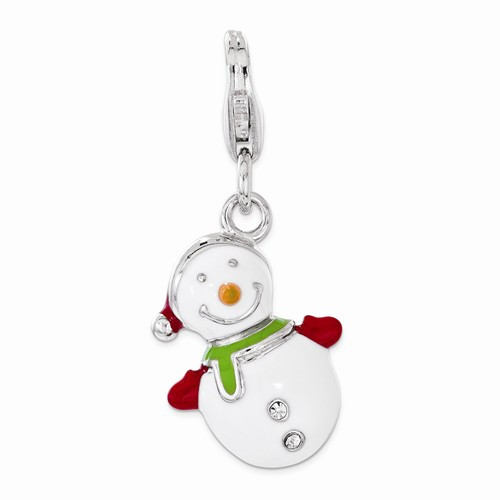 "Snowman with ""Swarovski"" Crystals Charm"
