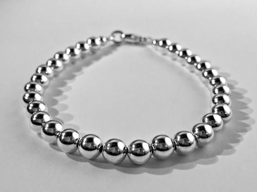 6mm Sterling Silver Beaded Bracelet