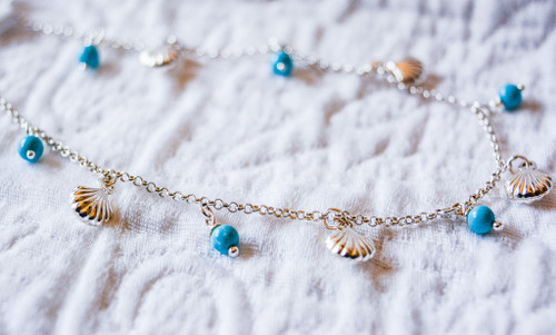 Shell and Turq Anklet