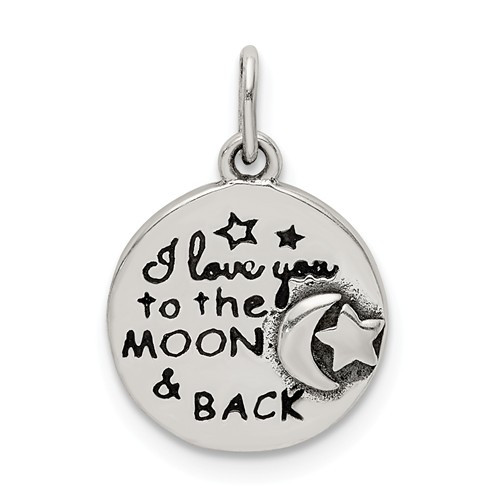 """""""I Love  You To The Moon And Back"""" charm"""
