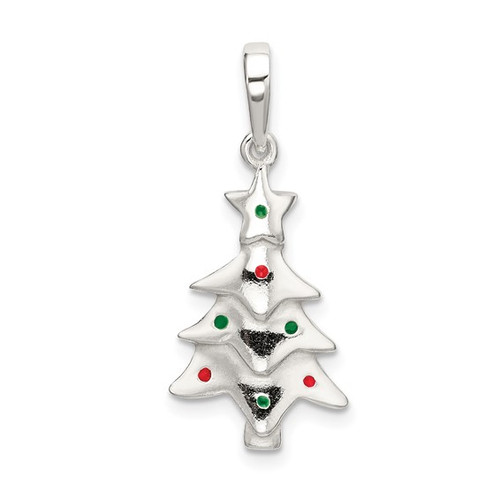 """Silver Tree With Enamel Ornaments"" Charm"