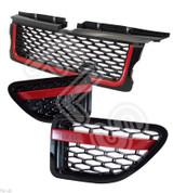 Range Rover Sport Autobiography 05-09 Front Grille & Side Vents RED Black