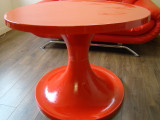 1960`s Tulip Style Large Round Face Table RED