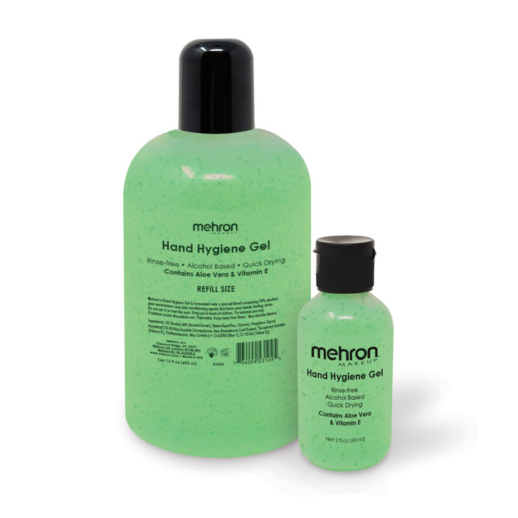 Mehron Hand Hygiene Gel available in 2 sizes (2oz and 16oz)