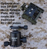 Optional dual-bolt DP-60R Quick Release Plate. Will not rotate like traditional  RC2 QD plates.