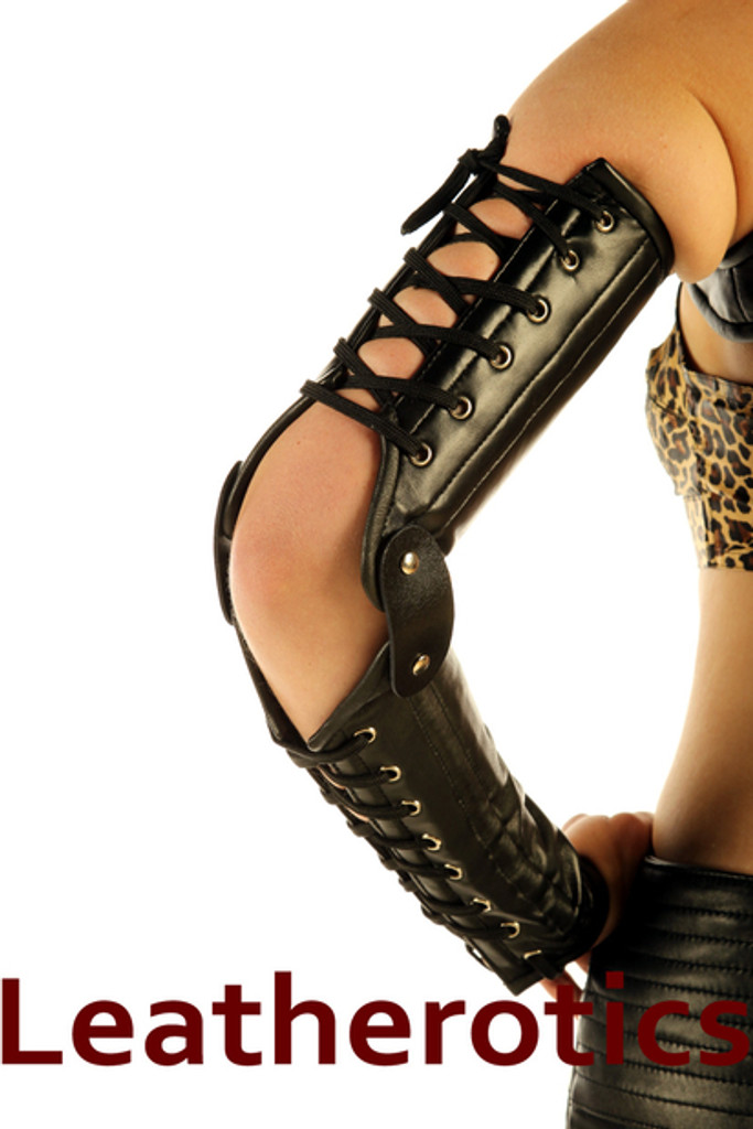 Full Grain Leather Gauntlets Lace Up Arm Gloves Steampunk in black color
