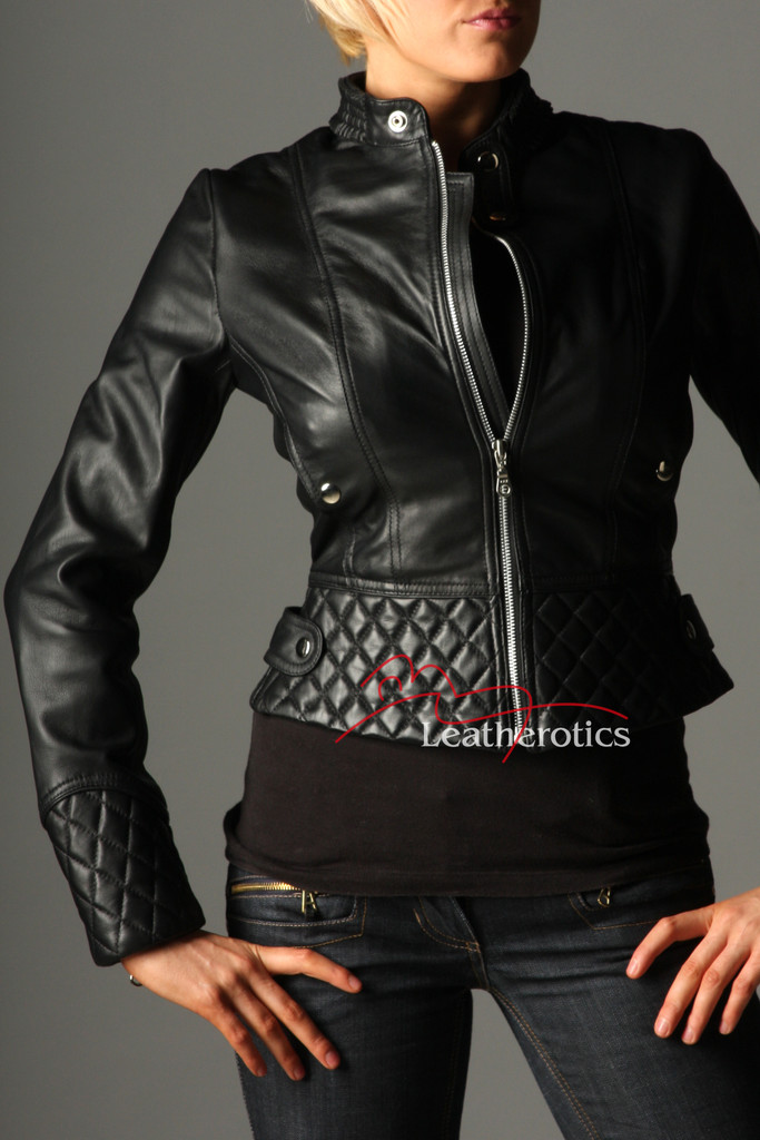 Full Grain Leather Ladies Jacket Fully Lined Funky Top front