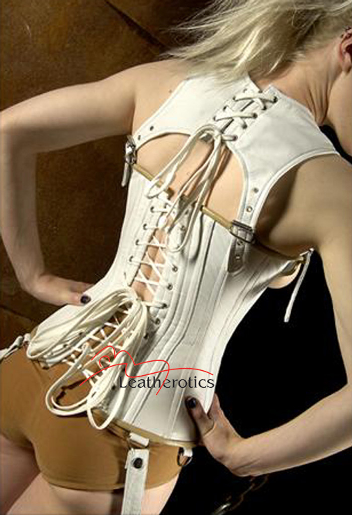 White leather unisex corset - back