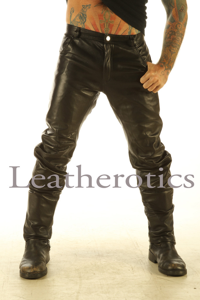 Mens real Leather trousers - front