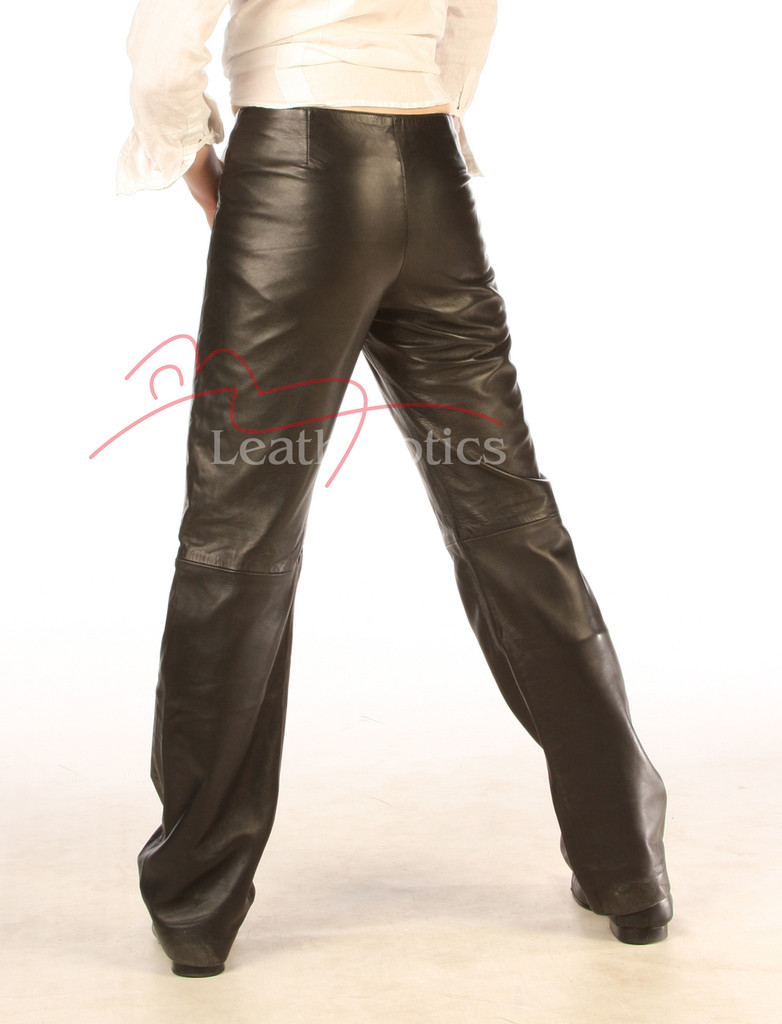 real leather men's dress trousers back