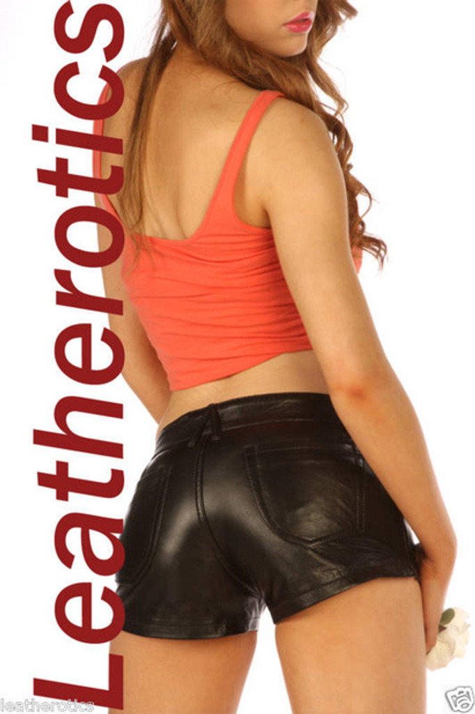 real black leather tight shorts