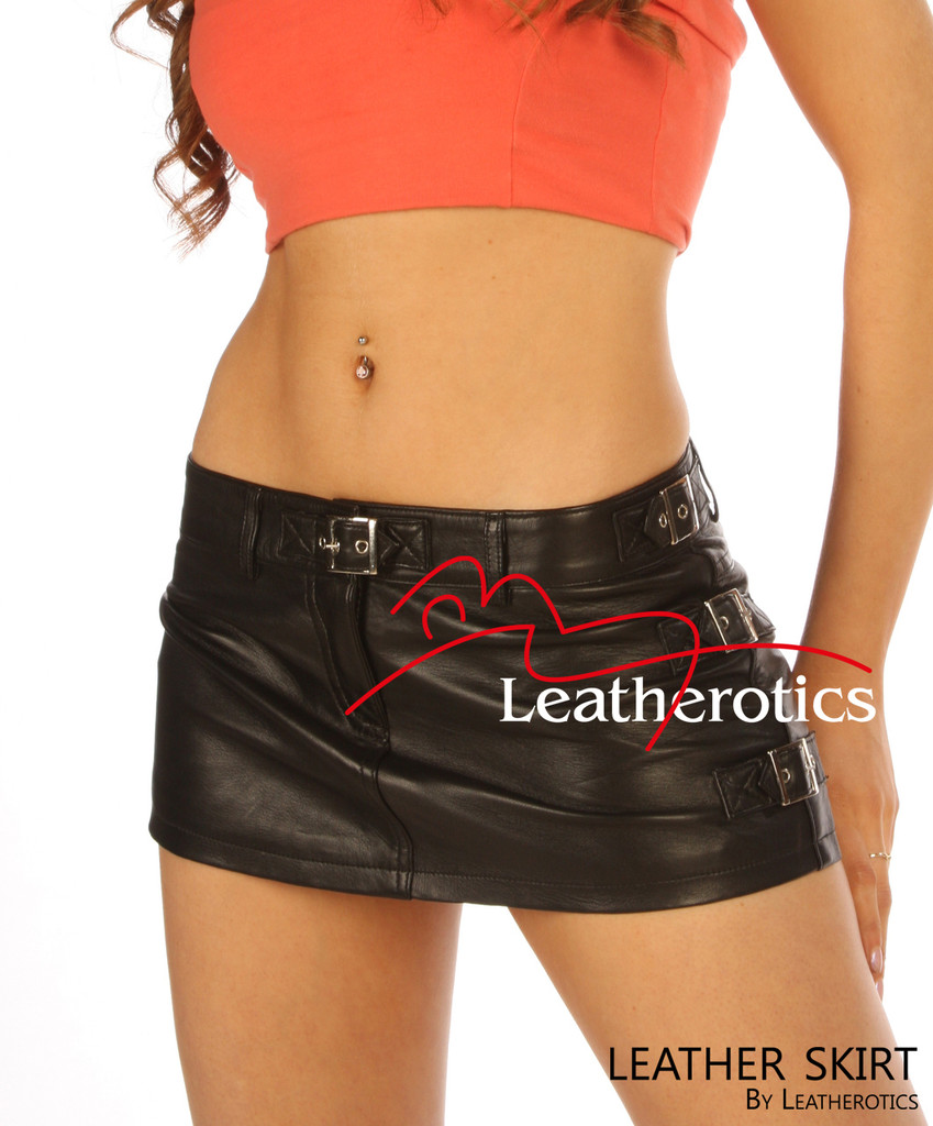 Full Grain Leather micro mini Skirt Tight Low Waist Hipster image 2