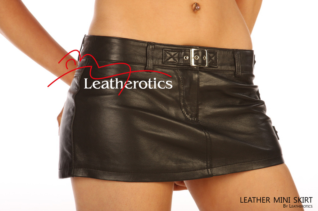 Full Grain Leather micro mini Skirt Tight Low Waist Hipster image 3