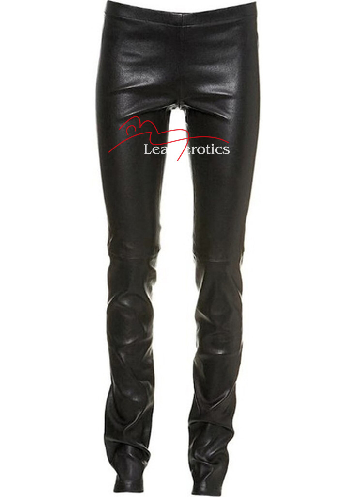 Full Grain Leather  Skinny Leggings Sexy Tight Fit