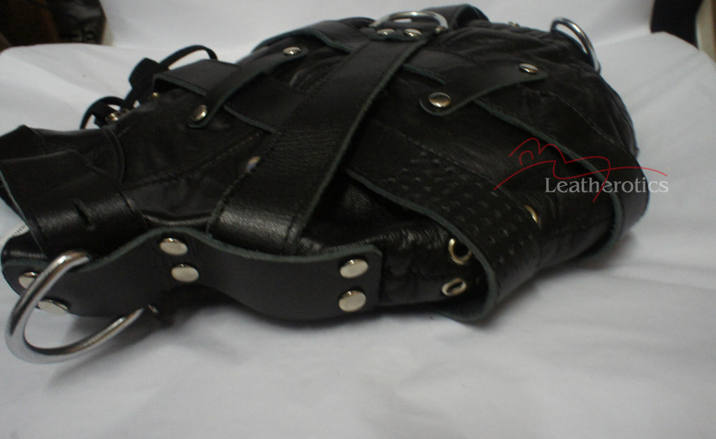 Goat Leather Tight mask  in black color pic 6