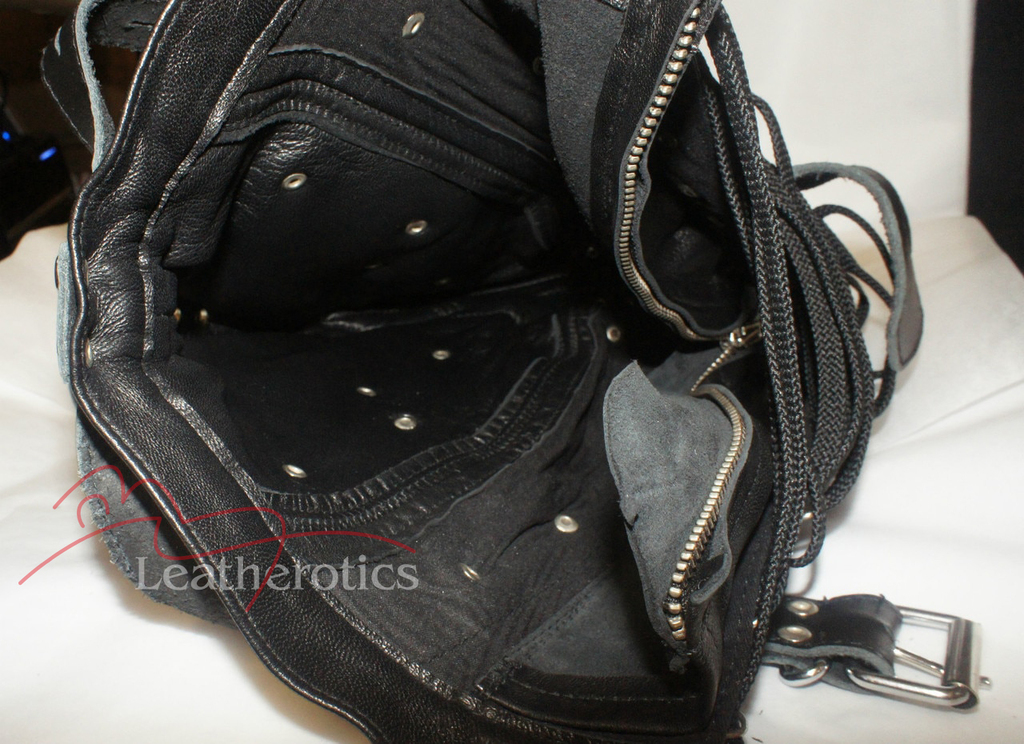 Goat Leather Tight mask bondage in black color pic 5