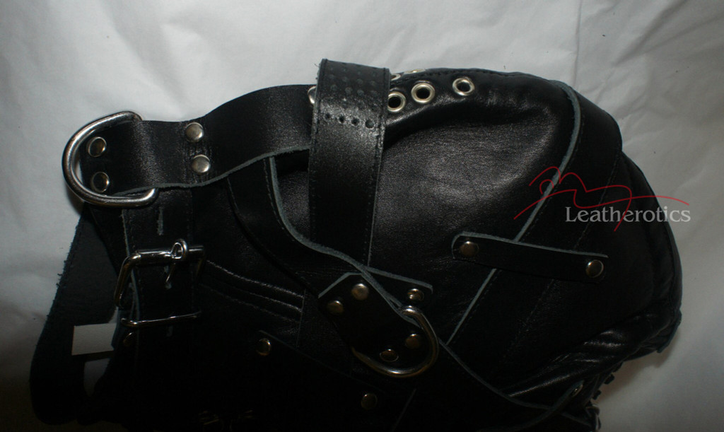 Goat Leather Tight bondage mask  in black colour pic 4