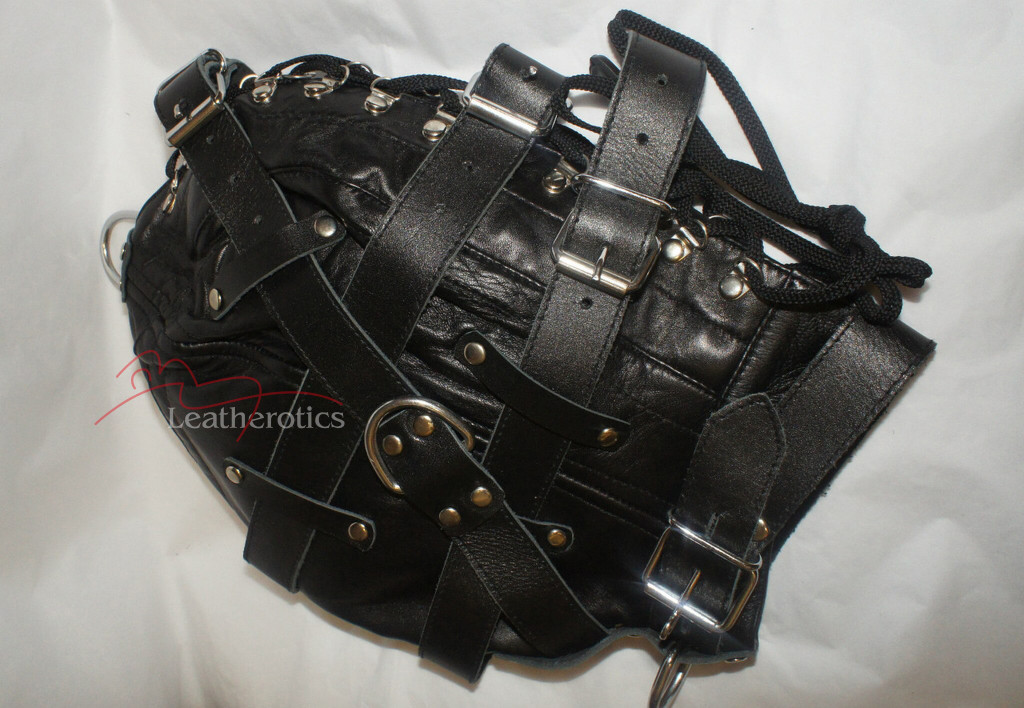Goat Leather Tight mask  in black color pic  1