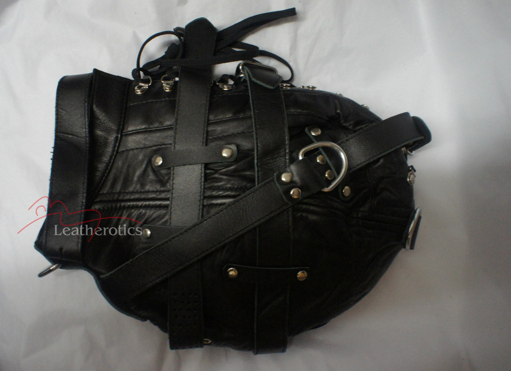 Goat Leather Tight mask hood black color pic 3